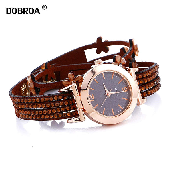 DOBROA Zegarki Damskie Relojes Mujer Long Decorative Metal Diamond Small Cashmere Flower Casual British Style Women Quartz Watch