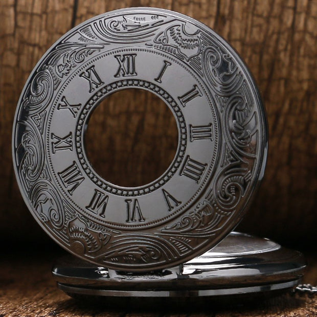 Design Black Gray Roman Dial Quartz Vintage Antique Pocket Watch Necklace Watches With Chain P413