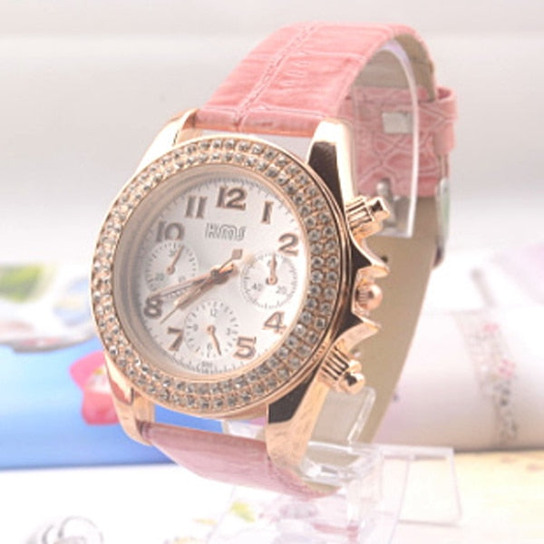 Diamond Digital Leather Strap Quartz Rhinestone Watch Dress Ladies Gift Watch Hot-selling Fashion 30M Water Resistant Watch