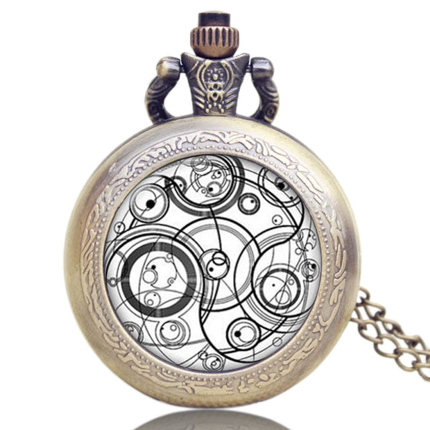Doctor Who Pocket Watch Antique Style Gift Pendant Chain Full Hunter Bronze Quartz Vintage Necklace New Chain