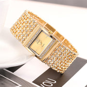 Duobla Women Watches Luxury Ladies Metal Quartz Mesh Belt Rectangle Dial With Diamond Watch Relogio Feminino Reloj Mujer Gift P#