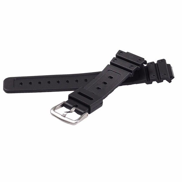 EACHE Black 16mm Replacement Watch Band Fit For G-shock Silicone Rubber Watch Straps Waterproof Watchband With Silver Buckle