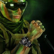 EPOZZ Big Dial Men's Quartz Watch Military Sport Male Clock Punk Style LED Display Rubber Strap Relogio Masculino Waterproof