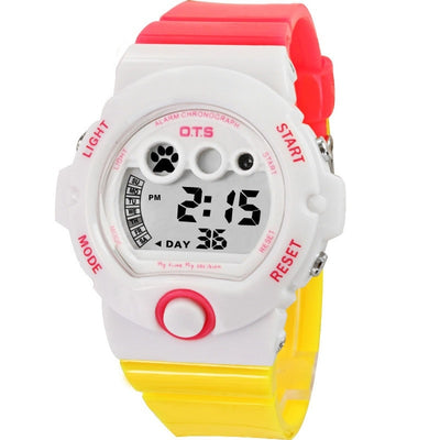 Environmental OTS Waterproof Girls Digital Multifunction LED Quartz Alarm Date Sports Wrist Watch Alipower