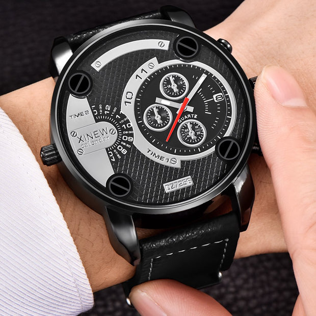 Famous Designer Mens Watches Brand Luxury Quartz Wristwatches Leather Band Big Face Military Date Clock Relogio Masculino Dz