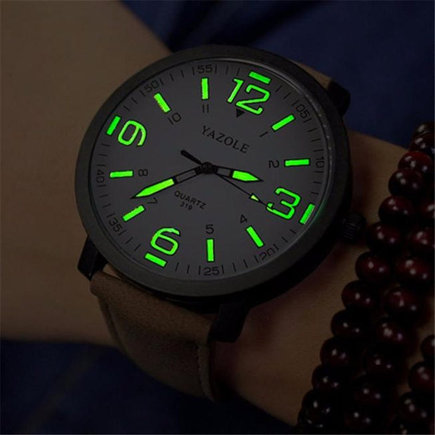 Fashion Brwon Leather Watches Luxury Big Dial Green Pointer Mens Military Quartz Army Sport Wrist Watch Relogio Masculine