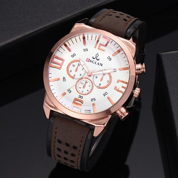 Fashion Classic Digital Men Business Round Dial PU Leather New Quartz Watches