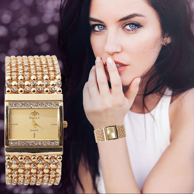 Fashion Crystal Bling Watches Women Luxury Brand Stainless Steel Bracelet Watch Ladies Quartz Dress Watches Reloj Mujer Clock