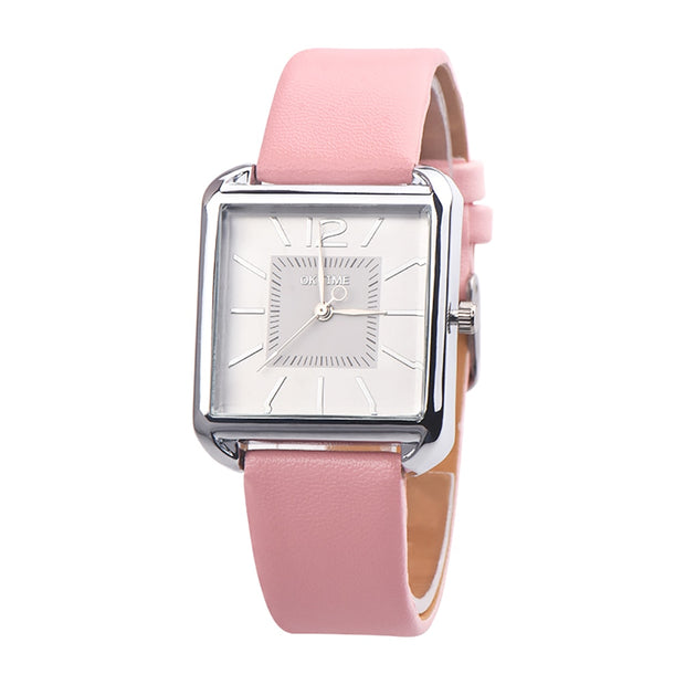 Fashion Faux Leather Band Square Women Casual Quartz Wrist Watch Jewelry Gift