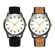 Fashion Men Analog Quartz Watches Faux Leather Band Round Casual Wristwatch