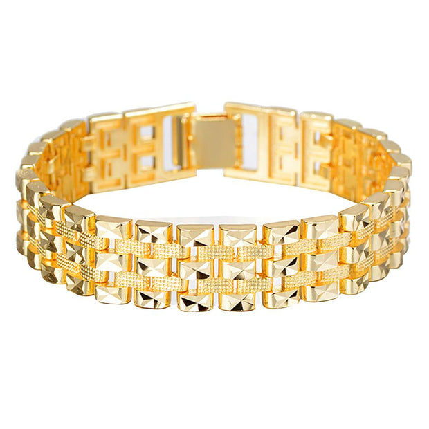 Fashion Men Embossed Wide Chain Wristwatch Band Bracelet Bangle Jewelry Decor Golden Color
