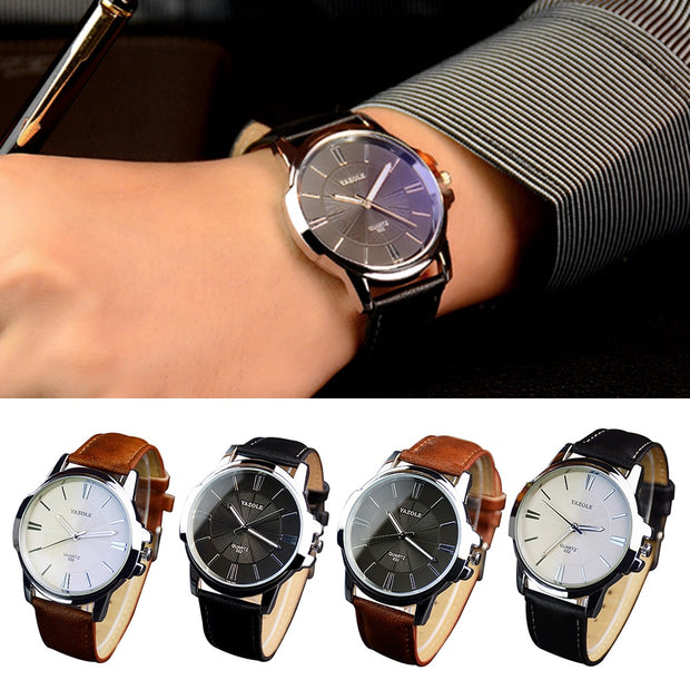 Fashion Men Genuine Leather Reloj Mujer Montre Homme Waterproof Analog Quartz Luminous Large Dial Watch Gift Dropshipping