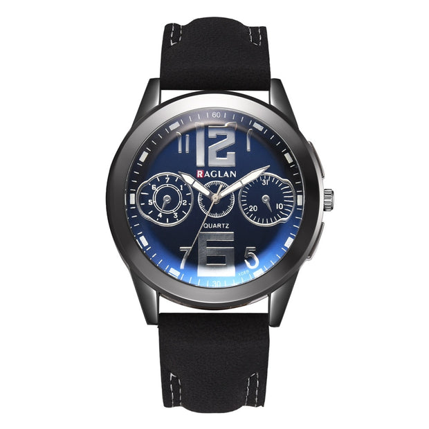 Fashion Men Quartz Watch High Quality Leather Clock Blu Ray Glass Wristwatch New Arrival Promotional Discounts