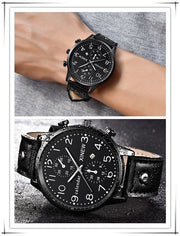 Fashion Men Sports Date Analog Quartz Leather Stainless Steel Wrist Watch Lovers Children Watch Luxury Casual_12.4