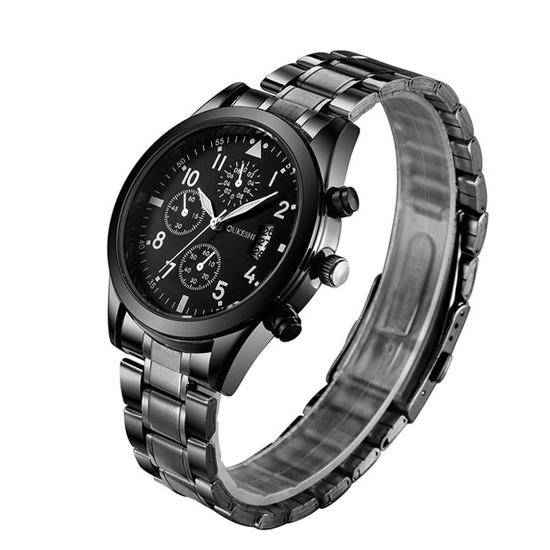 Fashion Men Stainless Steel Band Analog Gear Quartz Movement Wrist Watch Luxury Brand Casual Silver Black Watches A40