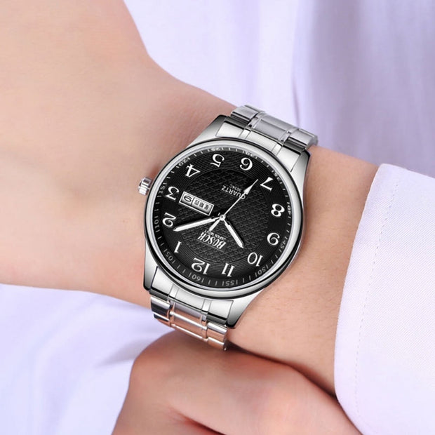 Fashion Men's Business Casual Watch Waterproof Alloy Glass Mirror Quartz Watch Horloges Mannen