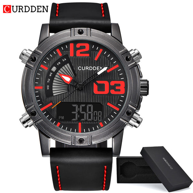 Fashion Men's Sport Watches Quartz Analog Date Clock Luxury Leather Luminous Sport Wristwatch Montre Homme Bracelet Cuir Marron