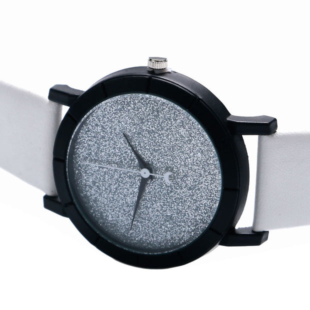 Fashion Modern Moon Stars Design Analog Wrist Watch Women Blooming Glitter Dial Simple Womens Dress Watches Gift