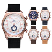 Fashion PU Leather Band Quartz Watch Double Dial Pattern Male Watches