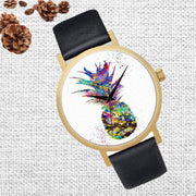 Fashion Pineapple Faux Leather Quartz Wrist Watch Women Bracelet Party Gift