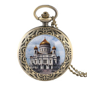Fashion Sculpture And Tower Design Quartz Pocket Watch Necklace Red Colour Pocket Watch With Chain Best Gift For Men And Women