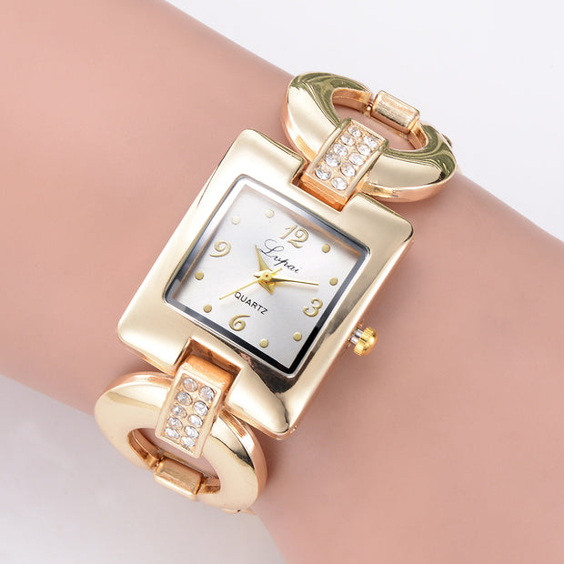 Fashion Slim Band Simple Rectangle Dial Analog Women Bracelet Quartz Watch Gift