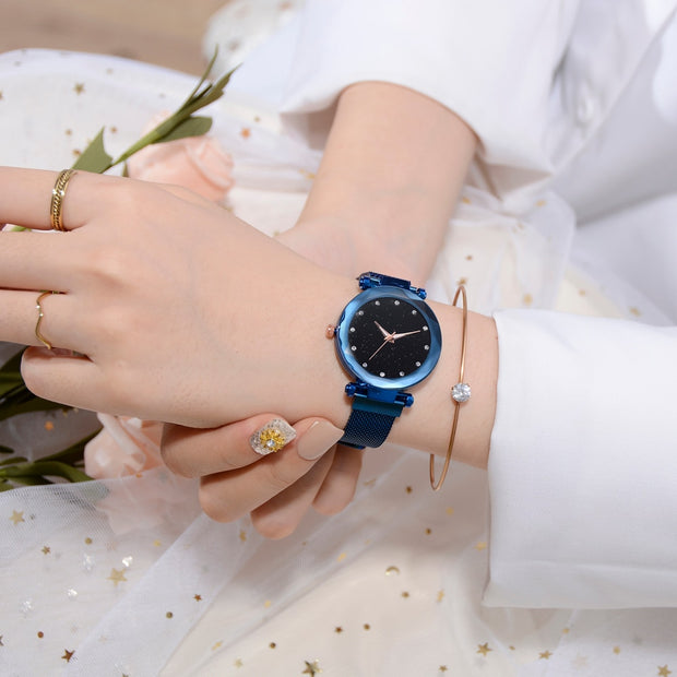 Fashion Starry Sky Women Watches Magnet Buckle Stylish Rose Gold Female Casual Quartz Wristwatch Unique Girls Gift Relogio