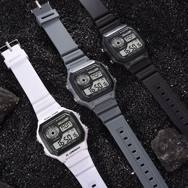 Fashion Top Brand Luxury Multiuse Waterproof Square Dial Luminous Dual Time Alarm Men Digital Wrist Watch