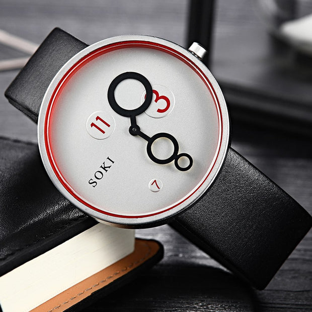 Fashion Unisex Faux Leather Strap Round Dial Quartz Analog Wristwatch Men Watch Women Watches Clock Gifts