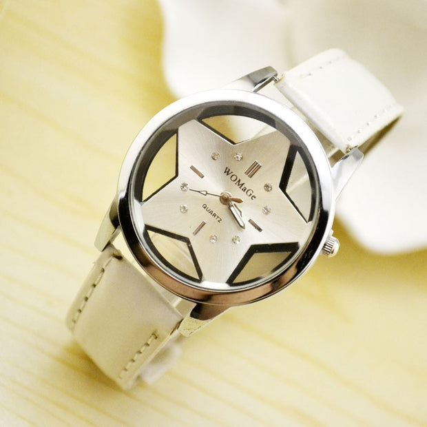 Fashion Womage Brand Cute Five-pointed Star Designer Style Wholesale Female Watch Lovely Pu Leather Nice Women Clock Oem Time