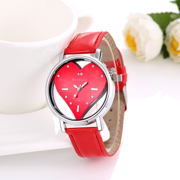 Fashion Womage Brand Womens Watches Casual Valentine Love Heart Quartz Watch Hollow Crystal Designer Skeleton Student Watches