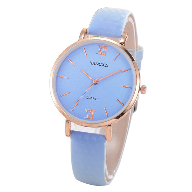 Fashion Women Color Changing Roman Numbers Simple Dial Analog Quartz Wrist Watch