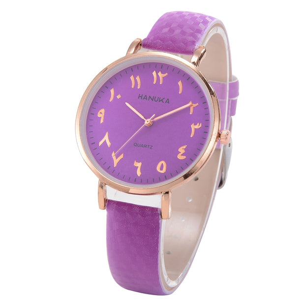 Fashion Women Faux Leather Band Simple Analog Quartz Wrist Watch Gift Charm