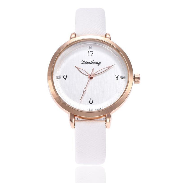 Fashion Women Watch Diamond Dial Leather Band Simple Rhinestone Clock Analog Quartz Business Wrist Watch Relogio Feminino #90
