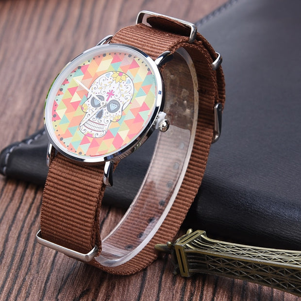Fashion Women Watch Nylon Wristband Top Brand Luxury Female Clock Quartz Analog Skull WristWatch Montre Femme Relogio Feminino43