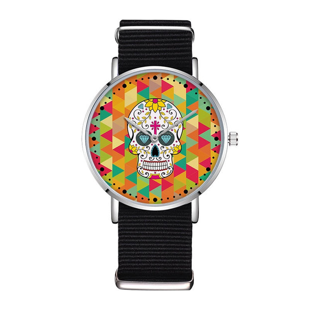 Fashion Women Watch Nylon Wristband Top Brand Luxury Quartz Analog Skull Wrist Watch For Ladies Montre Femme Relogio Feminino 39
