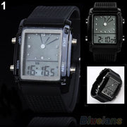 Fashion Womens Mens Digital LED Chronograph Quartz Sport Wrist Watch 6XAJ
