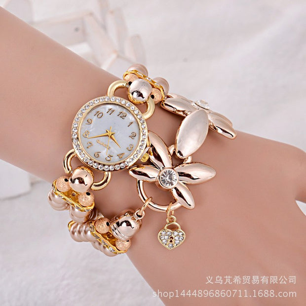 Fashion Bracelet Children's Watch Winding Diamond Korean Creative Pearl New Female Student Watch Relojes Para Mujer