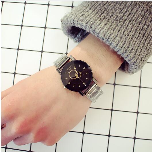 Fashion Lovers Circle Watch Retro Student Stainless Steel Band Couple Watches Relogio Feminino Zegarek Damski Montre Femme