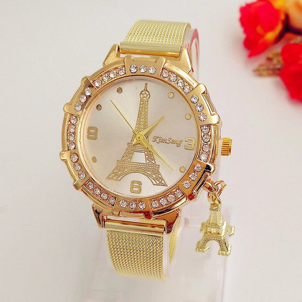 Fashion Watch Women's Eiffel Tower Mesh Belt Gold Quartz Wristwatch Relogio Feminino Montre Femme 2018