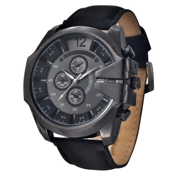 Fashion Watches Luxury Brand Cool Men's Watch Analog Sport Steel Case Quartz Dial Leather Wrist Watch Gift Watch Men