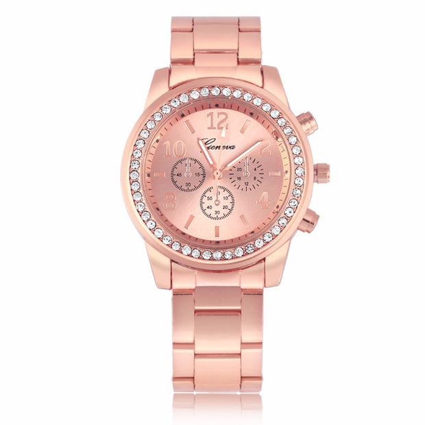 Fashionable Alloy Case Round Rhinestone Watch Women Female Analog Electronic Rhinestone Watch Alloy Strap Wristwatch
