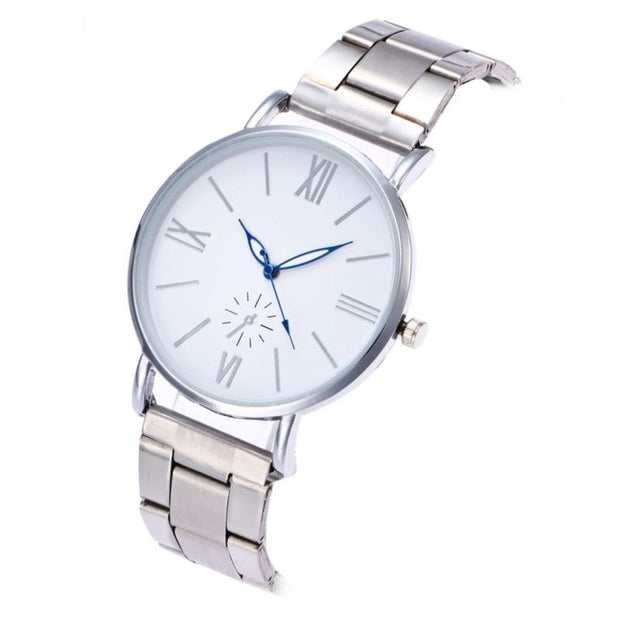 Fashionable Alloy Watch Round Dial Analog Display Quartz Wristwatch Lover's Watch Clock