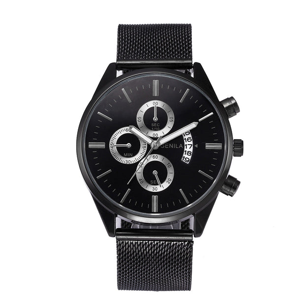 Fast Sending Fashion Casual Men's Watch Stainless Steel Mesh Belt Watches Wristwatch Bracelet Lover's Gift Drop Shipping C911