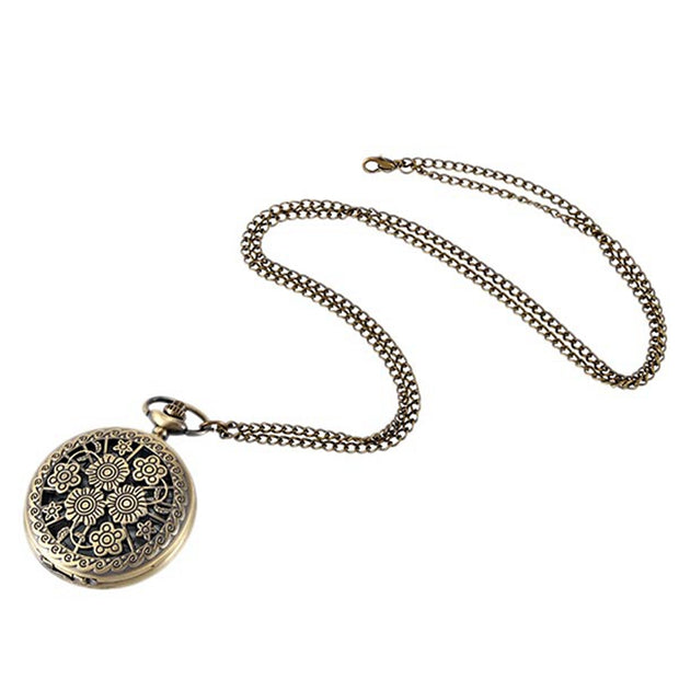 Flower Pocket Watch Openwork Tea Nine Small Flowers White Dial Arabic Number Ladies Vintage Pendant Pocket Watch