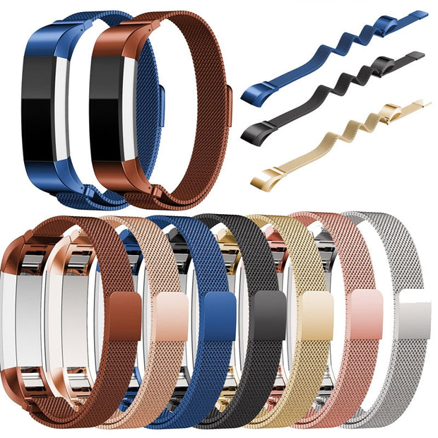 For Fitbit Alta HR And Alta Bands Replacement Milanese Loop Stainless Steel Metal Watch Bands Small Large Silver Rose Gold Black