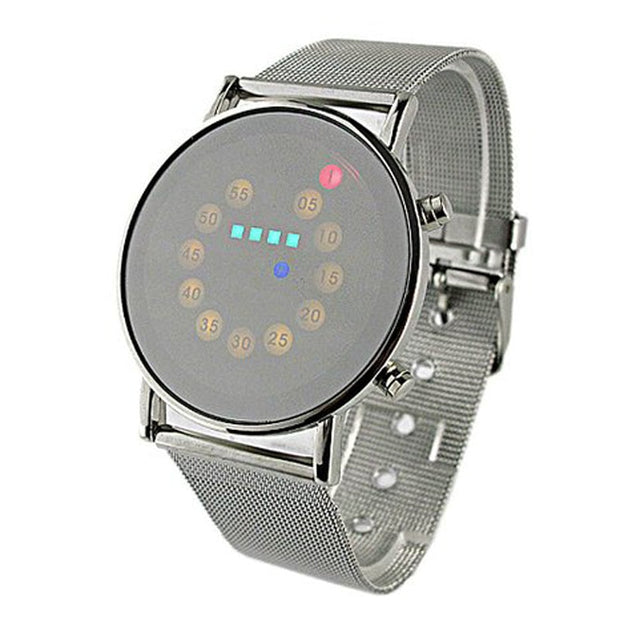 GEMIXI Red+Yellow+Green+Blue LED Light Stainless Steel Fashion Wrist Watchdropship