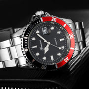 GONEWA Men Fashion Military Stainless Steel Date Sport Quartz Analog Wrist Watch Sep.27