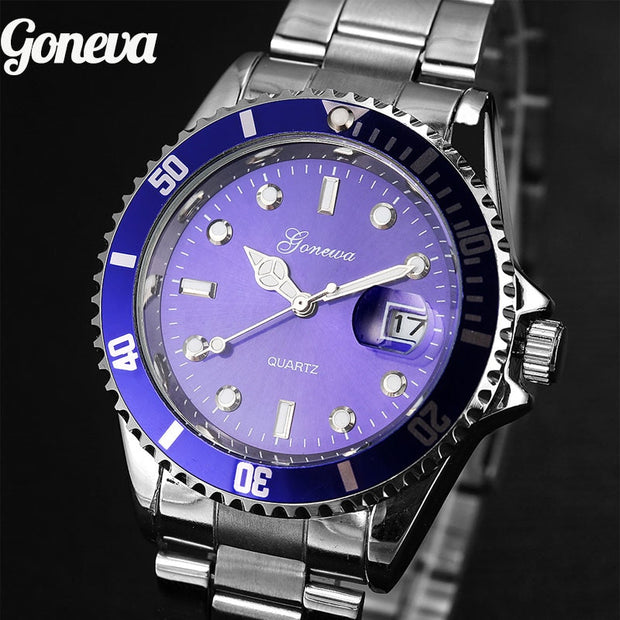 GONEWA Men Fashion Military Stainless Steel Date Sport Quartz Analog Wrist Watch Montre Homme 2018 Mens Watches Top Brand Luxury