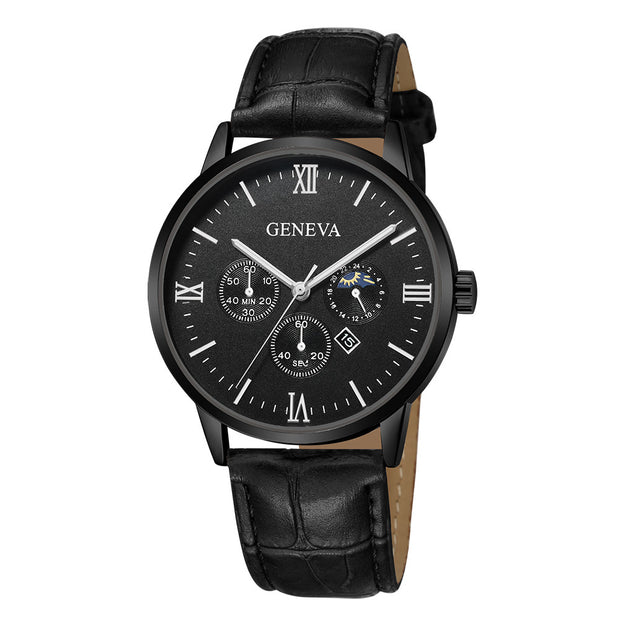 Geneva Classic Style Date Alloy Case Simple Casual Synthetic Leather Analog Quartz Sport Buckle Watch Gift Free Shipping